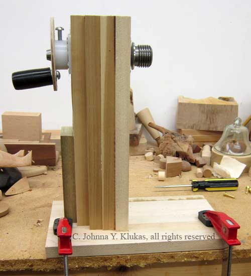 Photo of The Auxiliary Headstock Jig.  Design c. Johnna Y. Klukas, all rights reserved.