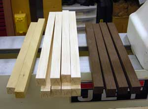 stave blanks and test pieces.
